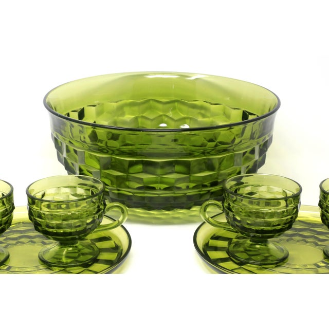 Colony Glass 1970's Colony Whitehall Collection Green Punch Bowl, Cups and Plates - Set of 7 For Sale - Image 4 of 11