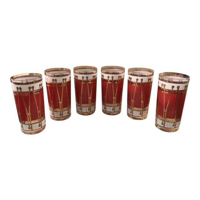 Mid-Century Modern Red Gold & White Highball Cocktail Glasses - Set of 6 - Image 1 of 9