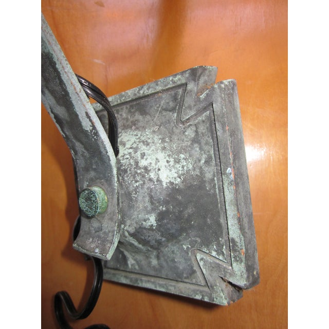1910s Arts and Crafts Era Mission Style Verdigris Patina Laterns-a Pair For Sale - Image 10 of 13