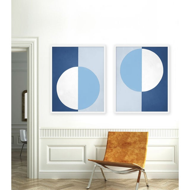 """Set of 2 giclée prints on textured fine art paper with white frames. Set of 2 measures 25"""" x 62""""; individual framed print..."""