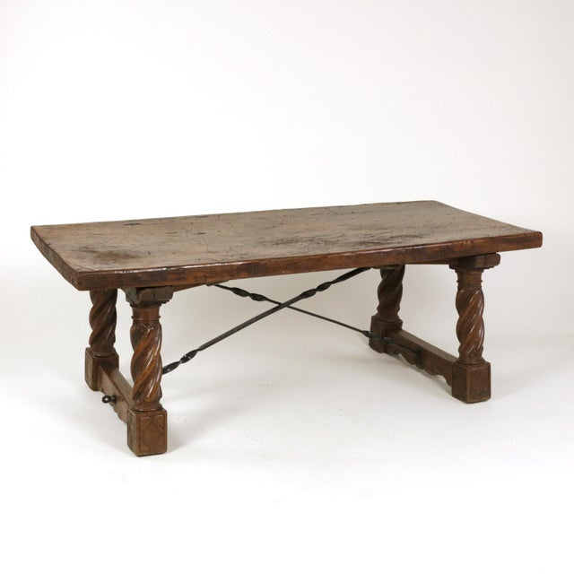 Early 19th Century Italian Walnut Low Table with Carved Barley Twist Legs and Twisted Iron Cross Stretchers, Circa 1800 For Sale - Image 5 of 13
