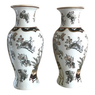 Asian Chnoiserie Porcelain Floral Vases - a Pair