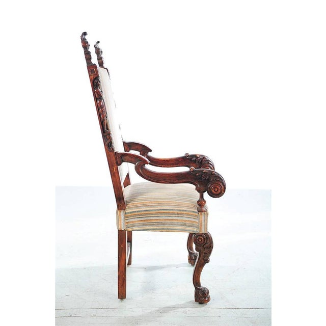 Mid 19th Century 19th Century Carved Renaissance Arm Chair For Sale - Image 5 of 10