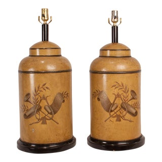 Vintage Tole Canister Lamps - a Pair For Sale
