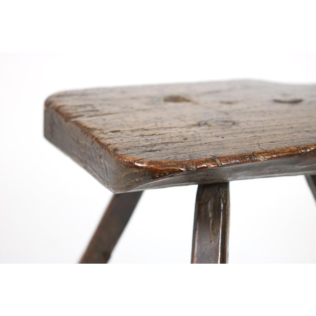A Rustic Carved Oak Tyrolean Three Legged Chair; Austria Circa 1680 For Sale In San Francisco - Image 6 of 13
