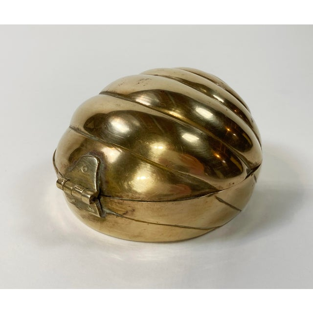 Hollywood Regency Hinged Brass Shell Trinket Box For Sale - Image 3 of 7