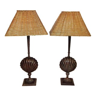 Metal Shell Lamps With Wicker Shades - a Pair For Sale