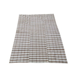 Late 20th Century Turkish Handmade Striped Flatweave Textile Rug - 9′5″ × 6' For Sale