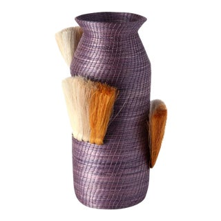 Fanned Out Small Tall Vase Lilac & Ochre Fans For Sale