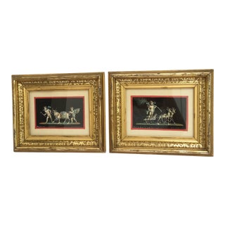 Antique Gouache Paintings of Cherubs - A Pair For Sale