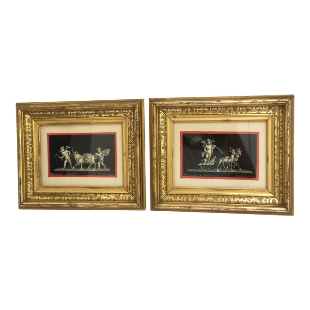 Antique Gouache Paintings of Cherubs - A Pair - Image 1 of 7