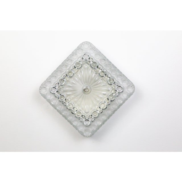 1970s Clear & Frosted Glass Diamond / Square Flush Mount With Circle Motif For Sale - Image 11 of 11