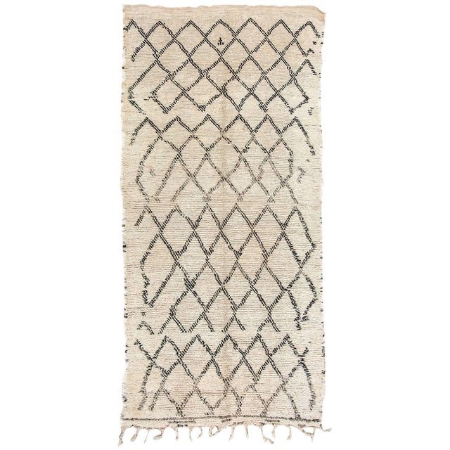 Black Moroccan Vintage Beni Ouarain Rug North Africa For Sale - Image 8 of 8