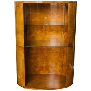 1970s Oval Goatskin Bookcase in the Style of Aldo Tura For Sale