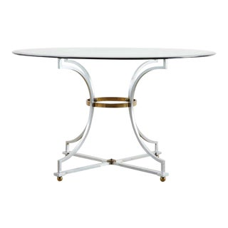 Maison Jansen Style Steel and Bronze Center Table For Sale
