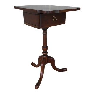 Statton Old Towne Solid Cherry Queen Anne Style Tilt Top Jewelry Box Table For Sale