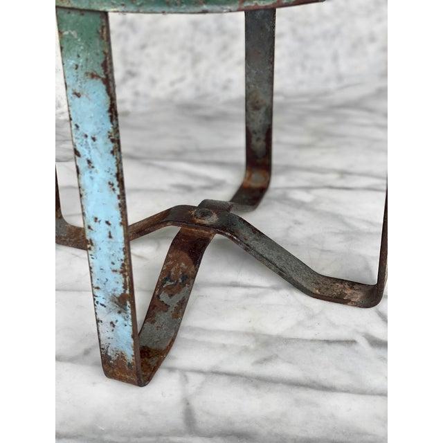 Metal Vintage Rustic Farmhouse Aluminum Metal Low Milking Stool For Sale - Image 7 of 9