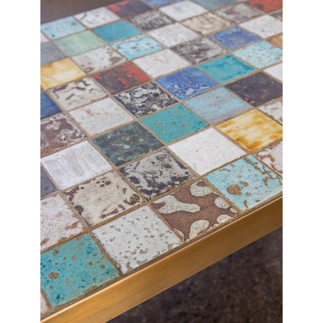 Metal California Modern Tile-Top Brass Coffee Table For Sale - Image 7 of 10