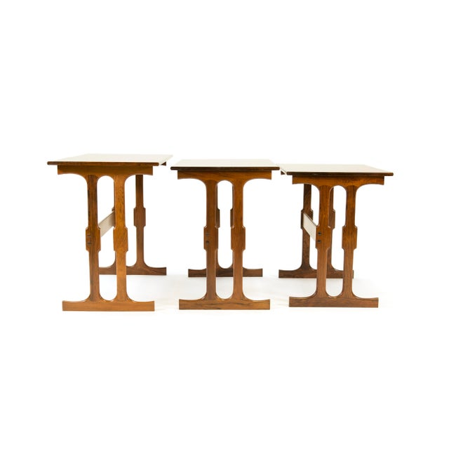 Mid 20th Century Cfc Silkeborg Rosewood Nesting Tables From Denmark - Set of 3 For Sale - Image 5 of 10
