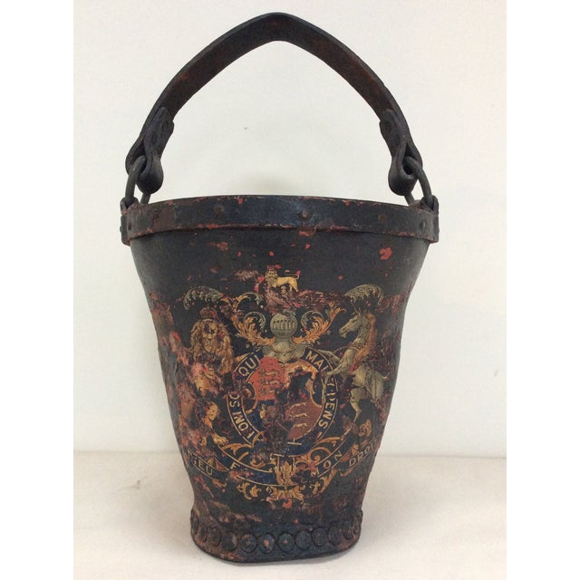 Antique Leather Coat of Arms Fire Bucket - Image 2 of 9