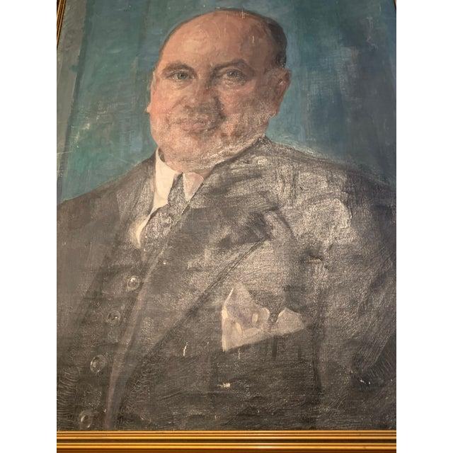 "Art Deco ""lon Rasmussen"" Portrait Painting by Bertha Dorff For Sale - Image 3 of 5"