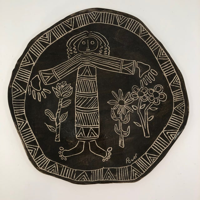 Brown Slab Pottery Plate With Sgraffito Earth Mother and Flowers For Sale - Image 8 of 13