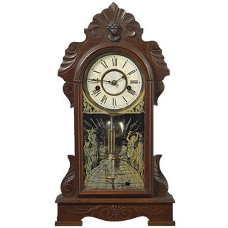 Antique Ansonia Carved Wood Kitchen/Gingerbread Clock For Sale