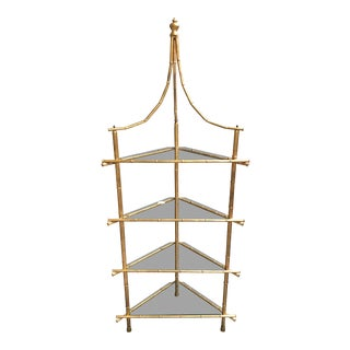 Transitional Metal and Gold Leafed Faux Bamboo Corner Shelf