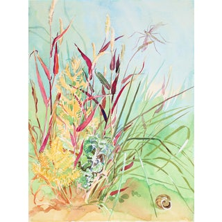 "1980s ""Autumn Grasses"" Landscape in Watercolor For Sale"