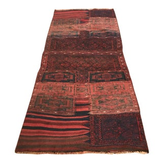 1930s Antique Afghan Tribal Handmade Wool Rug-3′5″ × 7′7″ For Sale