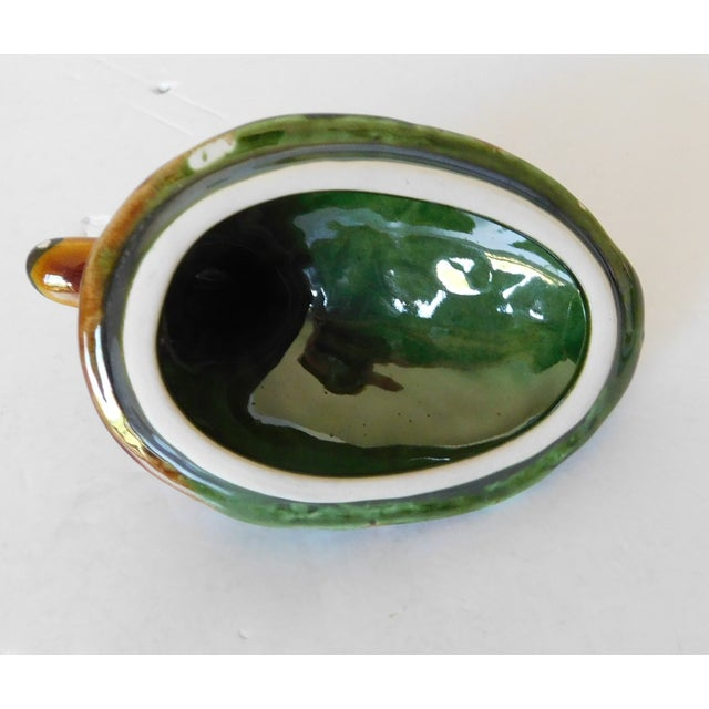 Vintage Green Majolica Mallard Duck Covered Condiment Dishes- Set of 3 For Sale - Image 10 of 13