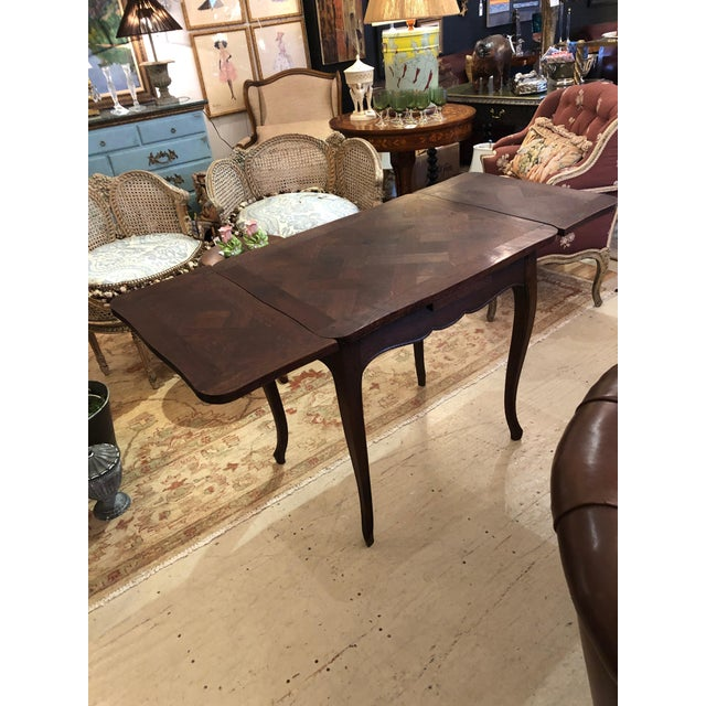 French Country Small Parquetry Walnut Refractory Table For Sale In Philadelphia - Image 6 of 11