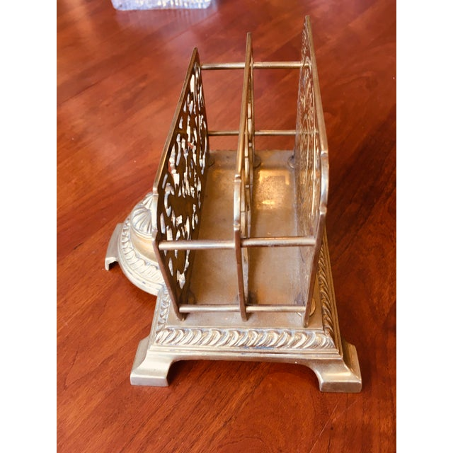 1910s Antique Brass Letter Holder With Inkwell For Sale - Image 5 of 7
