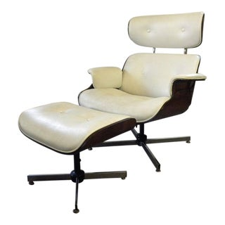 Vintage Mid Century Plycraft Lounge Chair and Ottoman For Sale