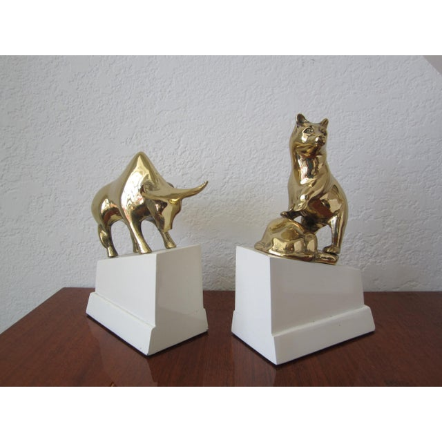 Brass Bear and Bull Bookends on White Blocks For Sale - Image 4 of 7