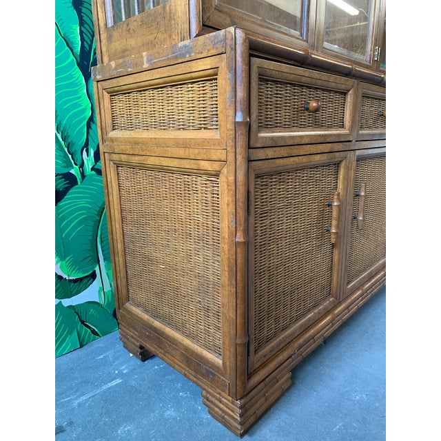 1970s Faux Bamboo and Rattan China Cabinet by American of Martinsville For Sale - Image 5 of 10