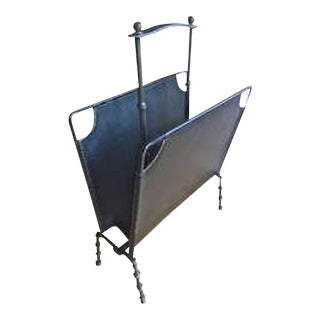 Jacques Adnet Black Hand Stitched Magazine Rack For Sale