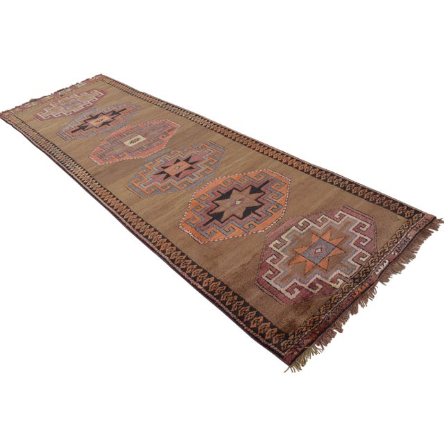 Hand Knotted Turkish Runner Rug - 3′7″ × 11′9″ - Image 1 of 9