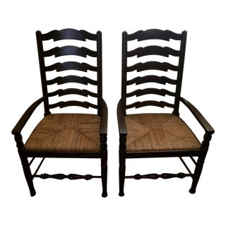 Antique Style Maitland Smith Ladder Back Dining Chairs- A Pair For Sale