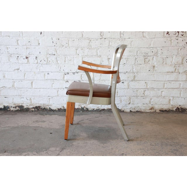 Shaw Walker 1950s Shaw Walker Maple and Aluminium Armchair With Leather Seat For Sale - Image 4 of 10