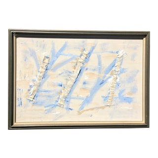 Vintage Blue and White Abstract Painting, Framed For Sale