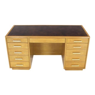 Blond Mahogany Leather Top Square Brass Pulls File Drawer Executive Desk For Sale
