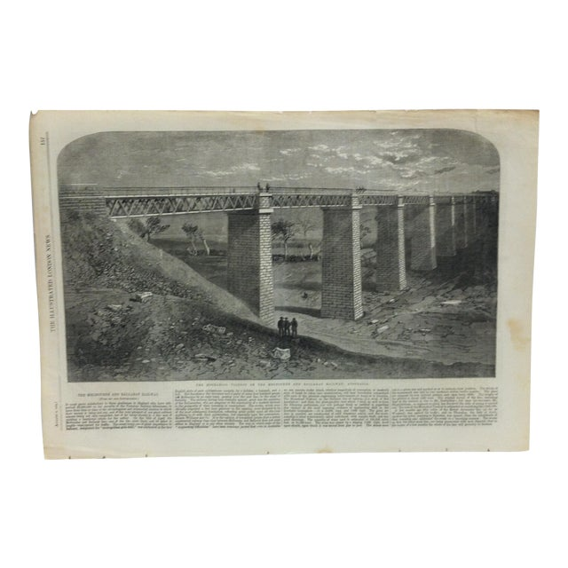 """1862 Antique """"The Modrabool Viaduct on the Melbourne and Ballarat Railway - Australia"""" The Illustrated London News Print For Sale"""