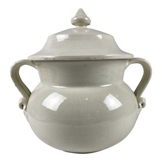 Italian Lidded White Pottery Urn Jar For Sale