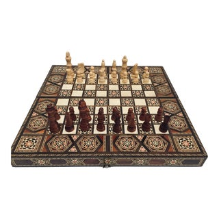 Vintage Syrian Mid Century Large Inlaid Mosaic Backgammon and Chess Game For Sale