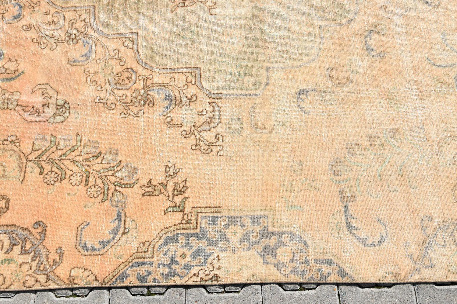 Antique Turkish Hand Knotted Bisque Pile Area Rug 7 4