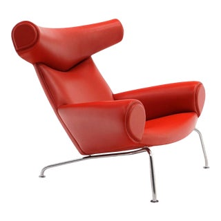 Hans Wegner Ox Lounge Chair, Model No. AP-46, New Red Leather, Excellent
