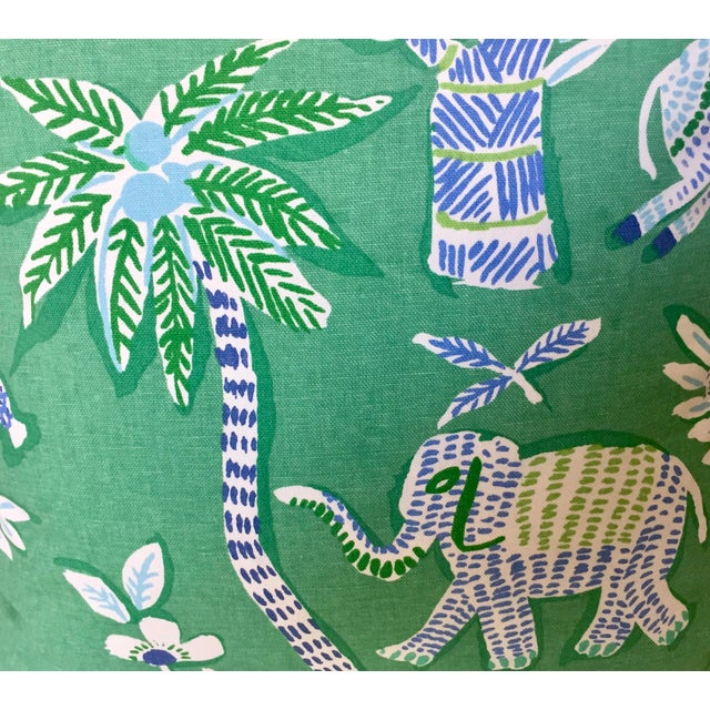 Thibaut Thibaut Goa in Green Designer Pillow Cover With Marine Blue Linen Piping For Sale - Image 4 of 6