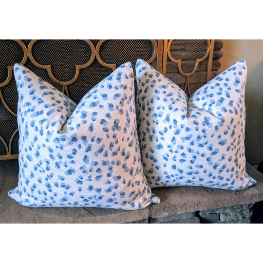 Asian Contemporary Rack Blue & White Leopard Pillows - a Pair For Sale - Image 3 of 3