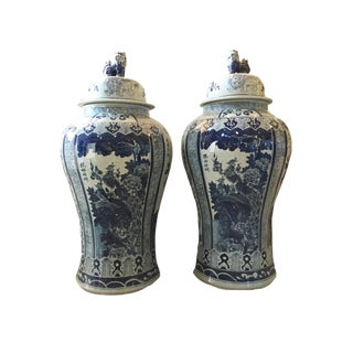 Mansion Size H. Painted Chinoiserie Ginger Jars - a Pair